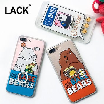 Funny Foodie Animal Case For iphone 7 Case Cute Cartoon Bear Panda Cover Ring Grip Phone Cases For iphone7 6 6S / Plus 5 5S Capa -Girllove100