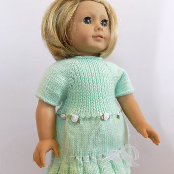 Mint Green Doll Dress, 18 Inch Doll Clothes, American Girl Size Dress
