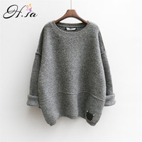 H.SA 2016 Women Sweater Pullovers Autumn Winter Oversized Sweaters Pull Korean Buderry Loose Fashion Jumpers Mohair Sueter Mujer