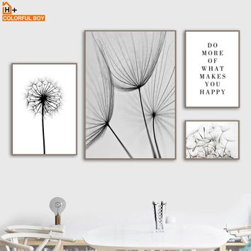 COLORFULBOY Canvas Art Print Dandelion Quotes Black White Nordic Posters And Prints Wall Art Canvas Pictures For Living Room