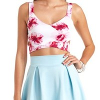 Floral Print Wrap Crop Top by Charlotte Russe - White Combo