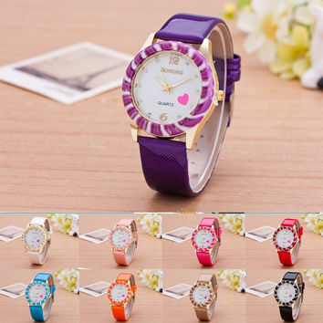 New woman watch quartz inlaid jade belt watch peach heart sweet leisure quartz watch