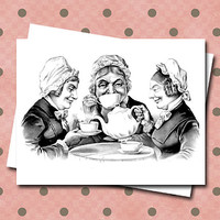 Three Ladies Sipping Tea Note Card Set Coffee Old Lady Vintage Style illustration Party Friendship Sisters Best Friends Set of Six