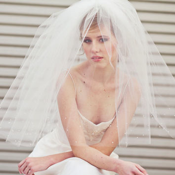 Bridal veil, two tier full veil with scattered pearls