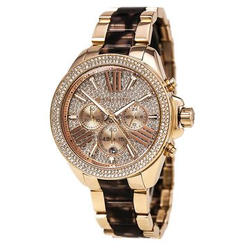 Michael Kors MK6159 Women's Wren Rose Gold Dial Steel & Acetate Bracelet Chrono Crystal Watch