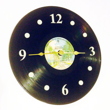 """Clock, Record Clock, Vinyl Record Clock, Wall Clock, Seals and Crofts Record, Recycled, 12"""" Record, Battery & Wall Hanger included, Item #86"""
