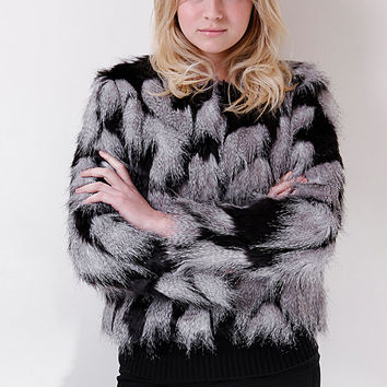 Liquorish Black And Grey Patchy Faux Fur Jacket