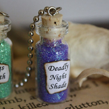 Glass Vial Necklace - Nightmare Before Christmas - Deadly Nightshade