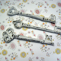 Skeleton Key 3 Each Single Keys Rustic Chippy Cast Iron Shabby Chic French Decor Classic White Distressed Key Set of 3 Trio