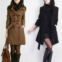 New Hot Sale Women's Fashion Slim Fit Button Long Sleeve Stand Collar Warm Coat = 1956703300