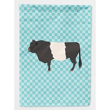 Belted Galloway Cow Blue Check Flag Canvas House Size BB8005CHF