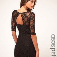 ASOS Petite | ASOS PETITE Exclusive Lace Dress With Cut Out Back Detail at ASOS