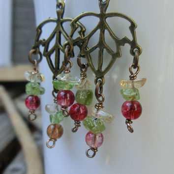 Leaf Drop Dangle Earrings - peridot - citrine - rainbow crystal