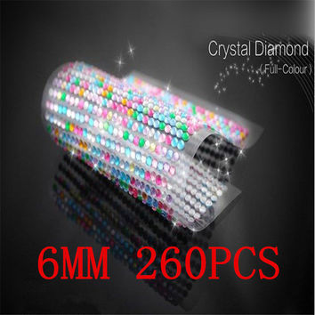 Free shipping 6mm 260pcs set full-colour rhinestone The Laptop Skins personalized crystal stickers self adhesive