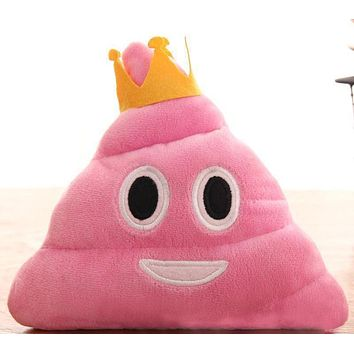 Pink Poop Princess Emoji Emotion Pillow Stuffed Plush Toy