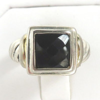 Vintage Black Spinel Sterling Silver Ring Size 5.5