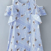 Blue Striped Rabbit Printed Dress