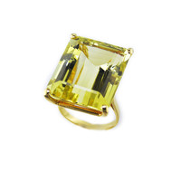 Vintage Yellow Heliodor Beryl 27.00 Carat Cocktail Ring // 18k Yellow Gold Yellow Gemstone Cocktail Ring, Free Domestic Shipping