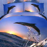 Duvet Cover Set Jumping Dolphin Dolce Mela 4 Pieces Cotton Bedding Set cotton quilt cover w/ sheet and two matching pillow covers