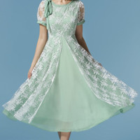 Light Green Vintage Embroidered Lace Chiffon Maxi Dress