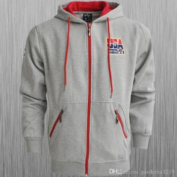 USA Basketball Dream Team 10 hooded zipper sweater men sweater USA autumn and winter coat big yards