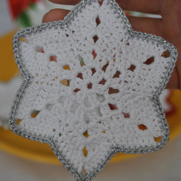 Crochet snowflake,Christmas Hanging ornament,Winter decorations,Wedding Gift,Crochet ornaments,White crochet snowflakes,Handmade ornaments
