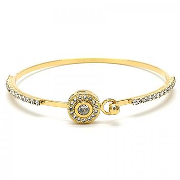 Gold Layered 07.97.0037 Individual Bangle, with White Micro Pave and White Cubic Zirconia, Polished Finish, Golden Tone (02 MM Thickness, Size 3 - 2.00 Diameter)