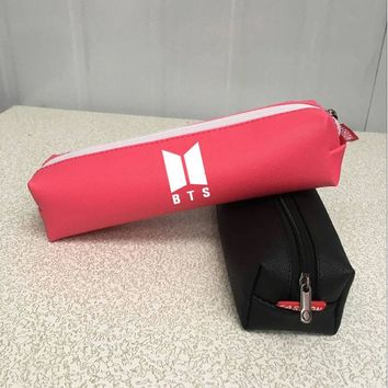 Kpophome BT21 Bangtan Boys Laser Pencil Case Quality BTS PU Stationery  Pencilcase Cute Pacote de p Bts School Supplies Tools