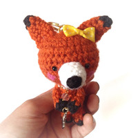 Handmade Crochet Bag Charm Crochet Fox Key Chain Amigurumi Fox with Bunny Charm Orange Fox Kawaii Accessories Girls Stuff Gift Ideas