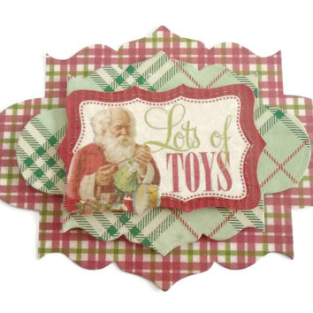 Santa, Christmas, 3D Scrapbook Embellishment, Paper piecing, gift tags, Scrapbooking Layouts, Cards, Mini Albums, brag book, Paper Crafts
