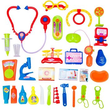30 Pieces/Set Children Pretend Play Doctor Nurse Toy Set Portable Suitcase Medical Kit Kids Educational Role Play Classic Toys