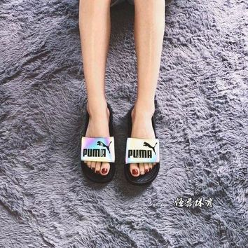 VONE4TH VAWA Puma PopCat Slides Casual Beach Sandal Black Iridescence