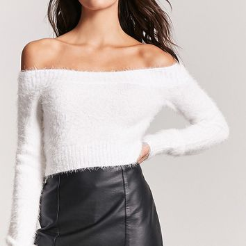 Fuzzy Eyelash-Knit Sweater