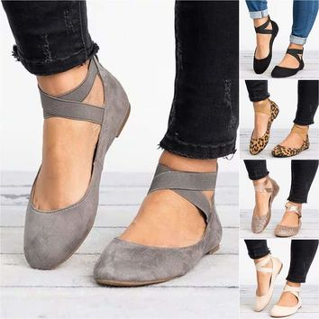 Womens Ankle Strap Ballerina Slip On Flats Court Pumps Summer Comfy Single Shoes
