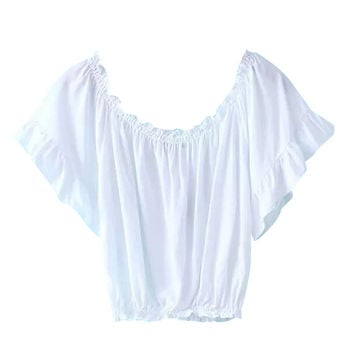 Off Shoulder Crop Top with Ruffle Detail