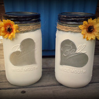 Set of 2 beautiful Love Rustic Distressed Sunflower Ball mason jars with 2 flickering tea lights