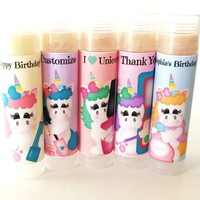 Unicorn Spa Day Custom Lip Balm | Unicorn Birthday Favors | Free Customization