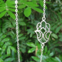 Silver necklace, Hamsa silver necklace, hamsa necklace, sideways hamsa, silver hamsa necklace, thin delicate, dainty necklace