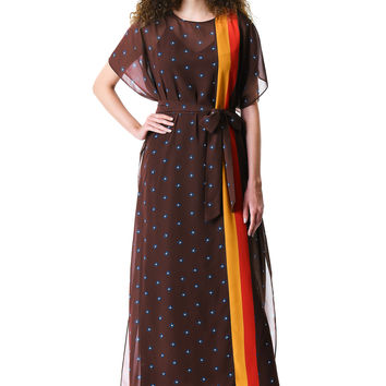 Graphic floral and stripe print georgette kaftan