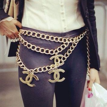 "Hot Sale ""Chanel"" Popular Women Personality Letters Metal Chain Wild Belt Waist Chain I/A"