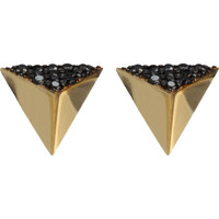 Black Diamond Pyramid Stud Earrings