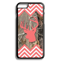 Coral Buck Head Double Chevron Camo Monogram iPhone 5S 5C 6/6S and Galaxy Custom Personalized Case Cover