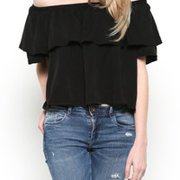 Short Sleeve Off the Shoulder Ruffle Top
