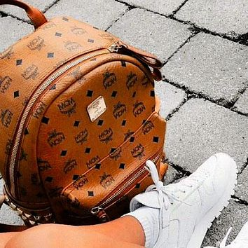 MCM New backpack women versatile rivet backpack multifunctional Brown