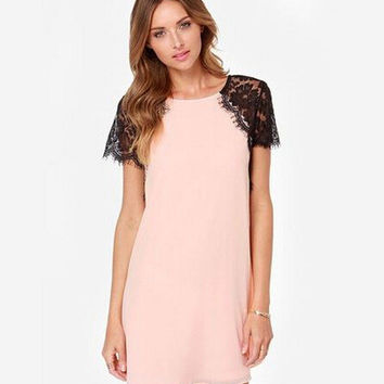 Summer Lace Mosaic Chiffon One Piece Dress [4915012676]