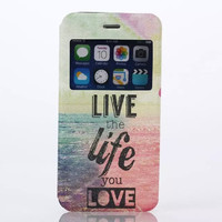 LIVE the life you LOVE Print Leather Case Cover for iPhone 6S 6 Plus Samsung Galaxy S6