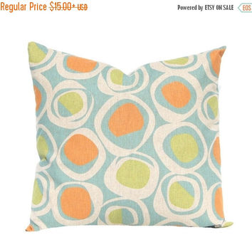 SALE Pillow Covers, Fall Pillow Covers, Linen Pillows, Throw Pillow Covers, Decorative Pillow Covers, Orange Pillows, Orange Aqua, Sofa Pill