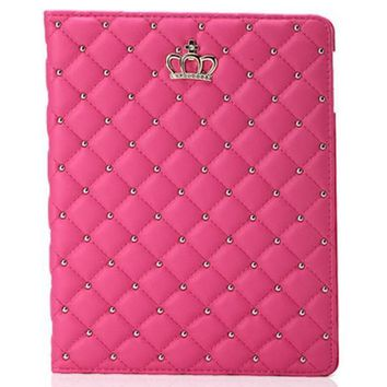 iPad Air 2, 1, iPad Mini-ALL - Diamond Quilted, Crown, Studded Case in Assorted Colors