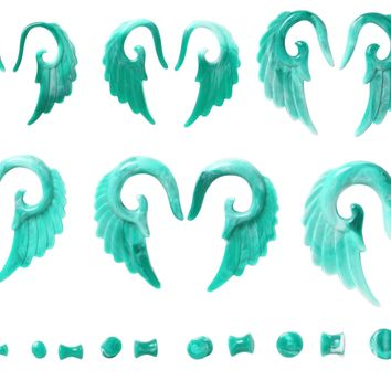 BodyJ4You Gauges Kit Tapers Plugs Turquoise Swirl Vintage Angel Wings 12mm-6G Body Piercing Jewelry Set 24 Pieces