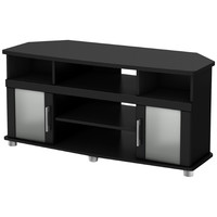 Black Corner TVstand with Frosted Glass Doors